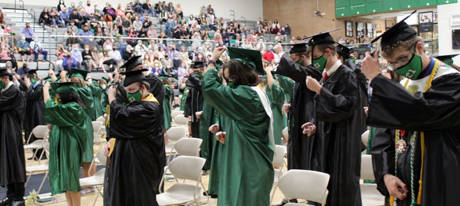 The Cloverdale High School Class of 2021 turns their tassels, signifying the end of their time at CHS. More photos from the recent commencement are featured inside today's Spencer Evening World.
