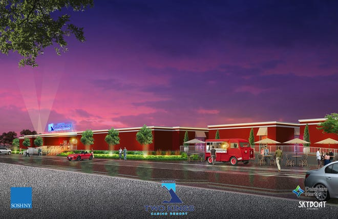This rendering shows the street view of the temporary building being built on the casino site.