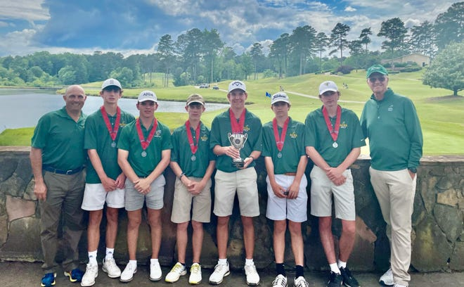 The Savannah Country Day boys golf team finished tied for second at the GHSA Class A Private state tournament, two strokes behind champion Prince Avenue Christian on May 18, 2021at Heritage Golf Links in Tucker.
