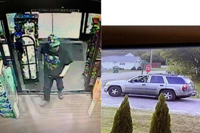 Photo from a surveillance camera and snapshot of the suspect vehicle in an armed robbery that occurred Monday at Dollar General in Mottville.