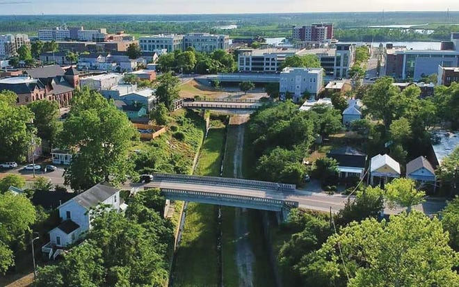 An aerial view of the disused railway corridor that will become the Wilmington Rail Trail.