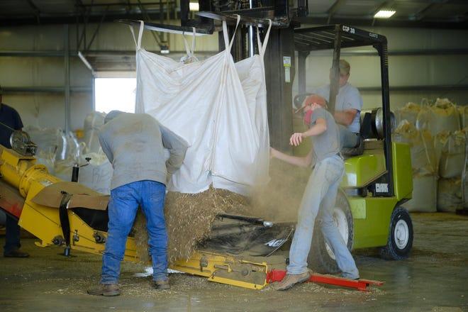 Workers at Shining Star Hemp Co. in Pratt load a bag of hemp biomass into the processor.