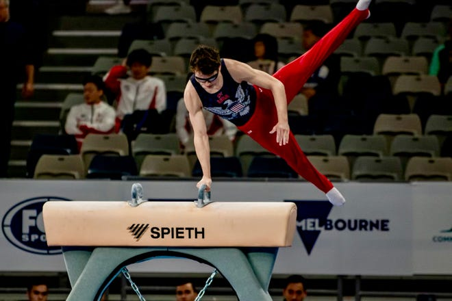 Worcester's Stephen Nedoroscik competes at the Melbourne World Cup 2020.