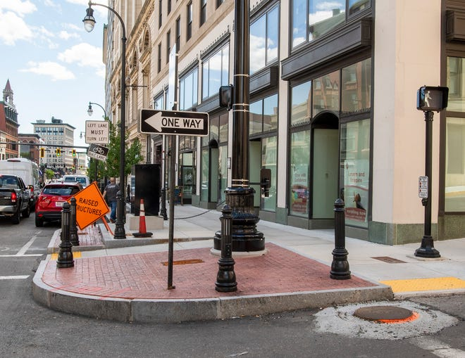 The intersection of Main and Walnut streets Wednesday, where a sculpture honoring Abby Kelley Foster will be placed.