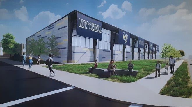 An architects drawing of the proposed fieldhouse/multipurpose area to be built on the east side of Mitchell Junior High School.