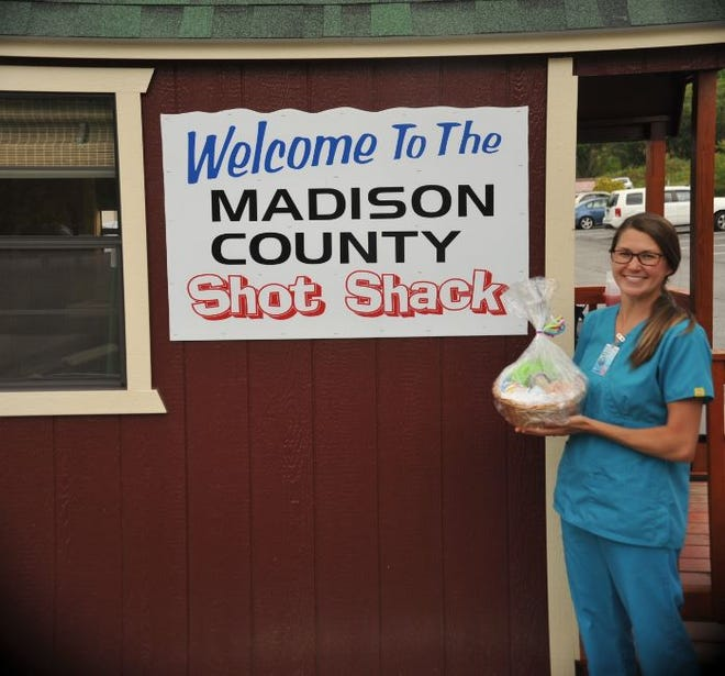 Brittany Byers, a Madison County Health Department registered nurse, poses with her gift basket.