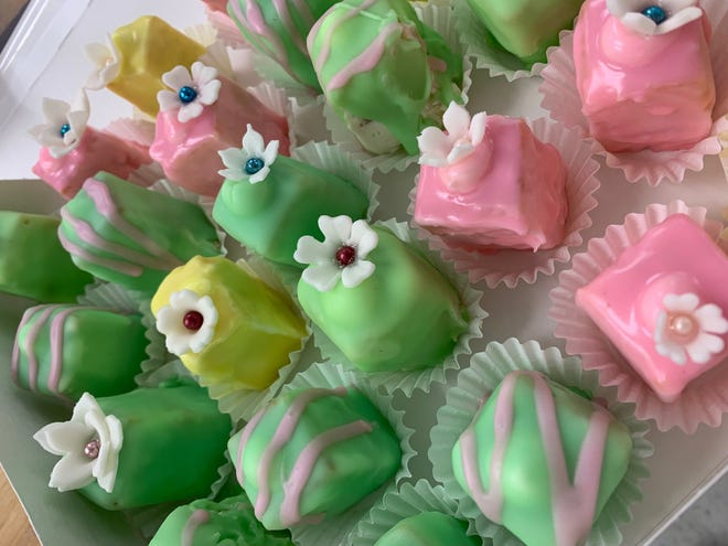 The end result after a day at Florida Academy of Baking: a box of colorful petit fours.