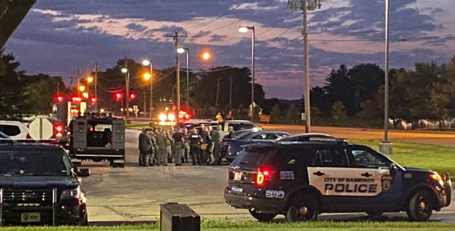 Harrison police say a man died from a self-inflicted gunshot wound during a standoff.