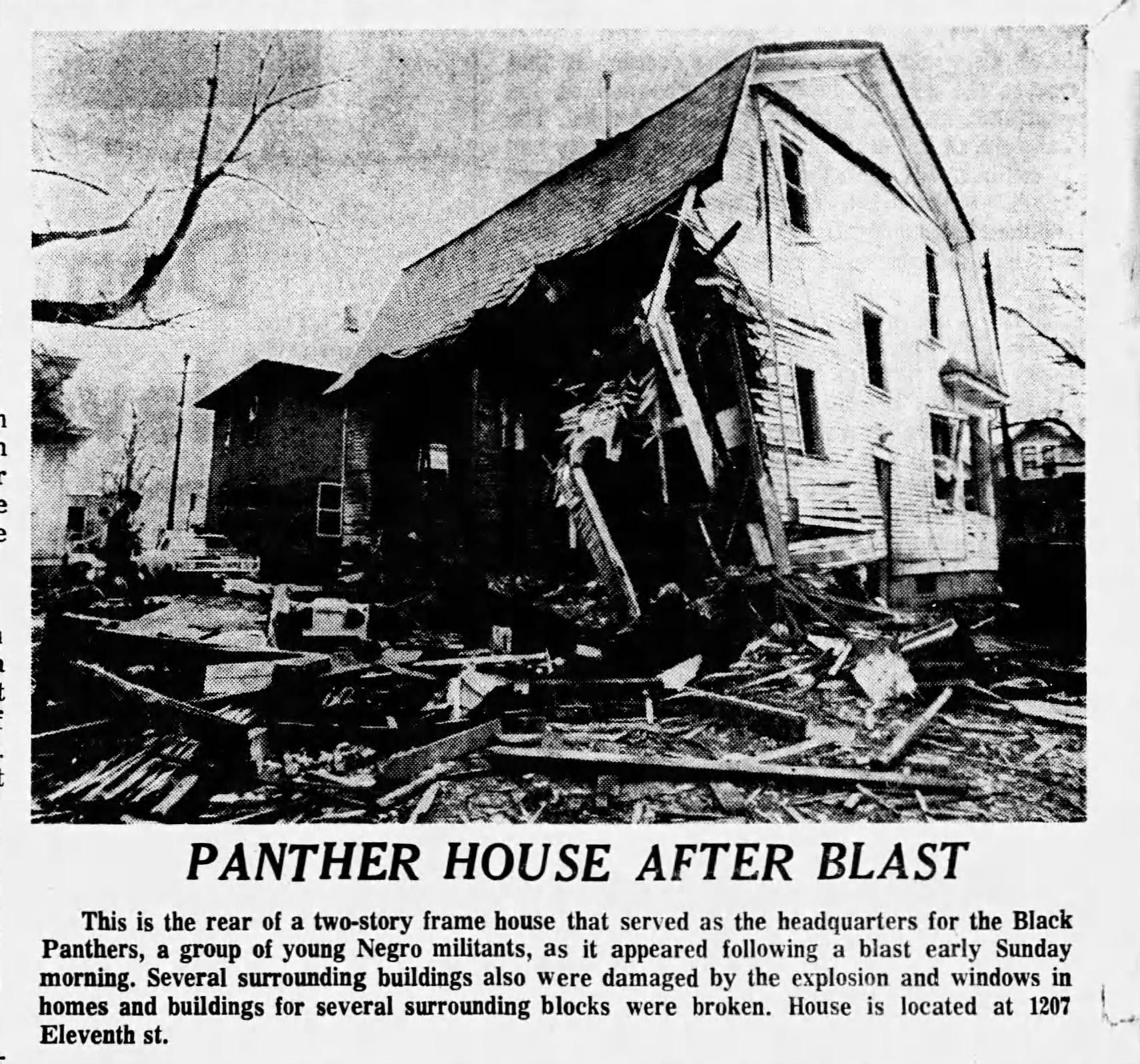 A photo in the Des Moines Tribune on April 28, 1969, after the headquarters of the Des Moines Black Panthers was bombed.