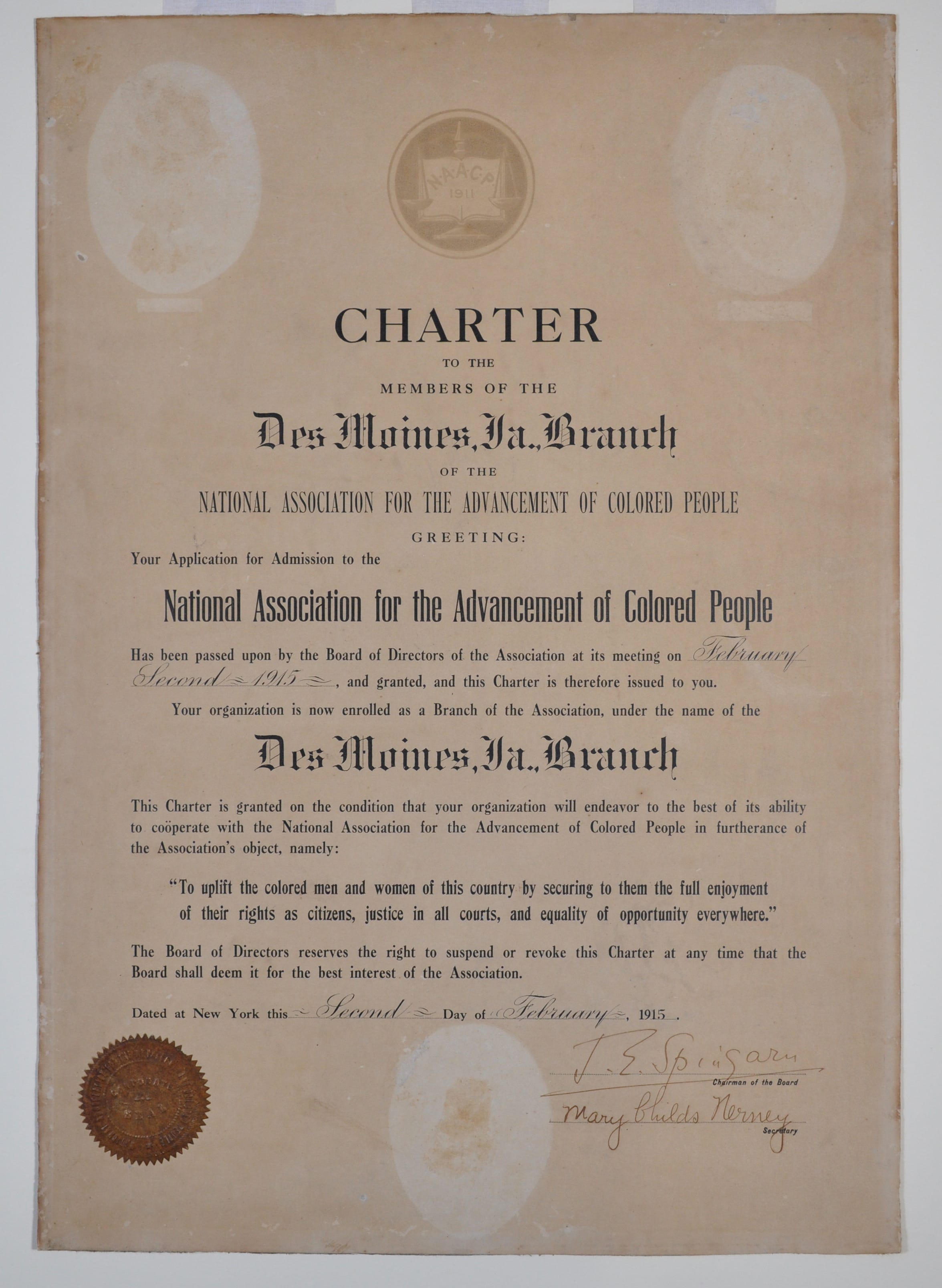 Charter for the Des Moines Chapter of the NAACP.