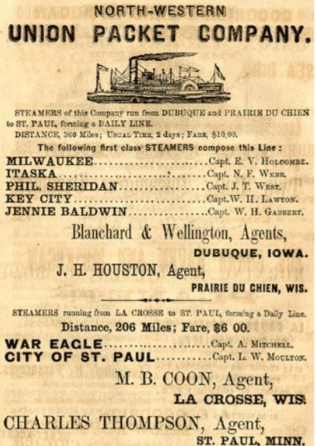 An Union Packet Company steamboats advertisement.