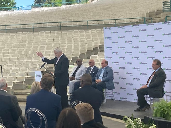 Detroit businessman Gary Torgow, chairman of the board of Huntington National Bank, addressed a small audience at the Aretha Franklin Amphitheatre in Detroit on June 16, 2021.