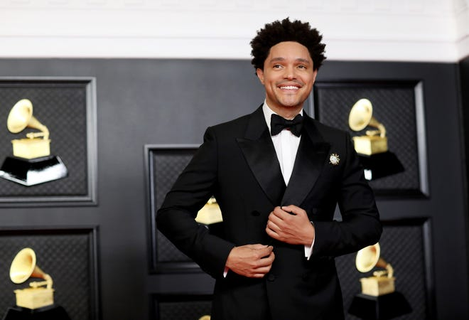 Host Trevor Noah on the red carpet at the 63rd Annual Grammy Awards at the Los Angeles Convention Center, in downtown Los Angeles, on March 14, 2021.