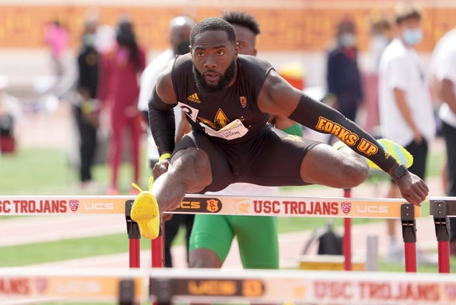 May 15, 2021; Los Angeles, California, USA; Kentre Patterson of Arizona State runs in a 110m hurdles heat during the Pac-12 Championships at Cromwell Field.