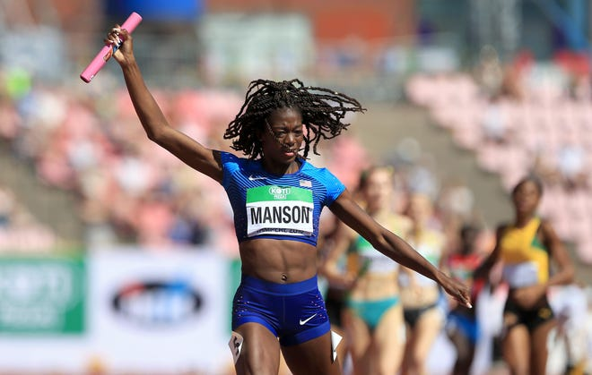 Taylor Manson of the USA crosses the finish line to win The USA gold in the final of the women's 4x400m relay on day six of The IAAF World U20 Championships on July 15, 2018, in Tampere, Finland.