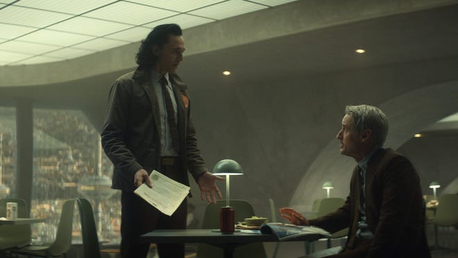 """Loki (Tom Hiddleston, left) and Mobius (Owen Wilson) try to find the Variant wreaking havoc across time in the second episode of """"Loki."""" The episode, which debuted on Disney+ June 16, begins at a renaissance fair in Oshkosh."""