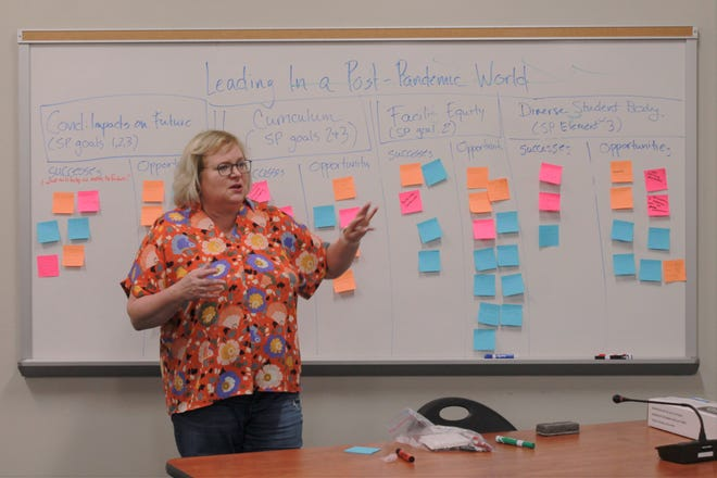 Williamson County' Schools' twelfth district school board member and board chair Nancy Garrett leads the rest of the Board of Education in discussion at its summer retreat on June 12, 2021 in Franklin, Tenn.