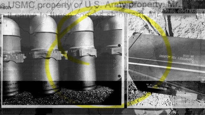 A photo illustration combining photos of grenades collected as evidence in an investigation into stolen military explosives. (AP Illustration/Nat Castañeda)