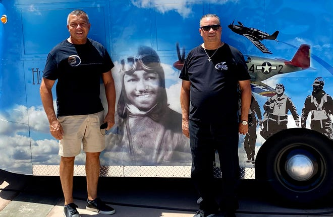 Tim Vincent, Brothers of the Desert president, poses with Chauncey E. Spencer II.