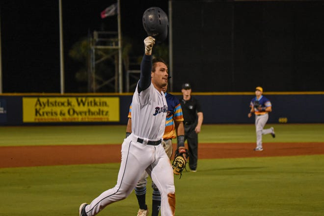 Pensacola's Nick Fortes celebrates hitting a dramatic two-run walk-off home run at Blue Wahoos Stadium on Wednesday, June 15, 2021.