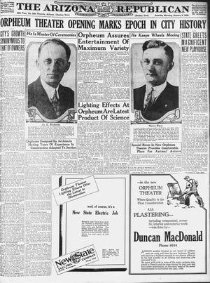 Portada del 5 de enero de 1929, republicano de Arizona con una página completa sobre la inauguración del Orpheum Theatre en el centro de Phoenix.