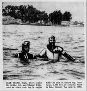 Ο ιστότοπος των συντριμμιών παπιών Laura Grace υπήρξε εδώ και πολύ καιρό για τους καταδύτες, όπως φαίνεται να στέκεται στον ατμό λέβητα του σκάφους σε μια φωτογραφία που δημοσιεύθηκε στις 20 Ιουνίου 1962 στο Democratic Party and Chronicle.