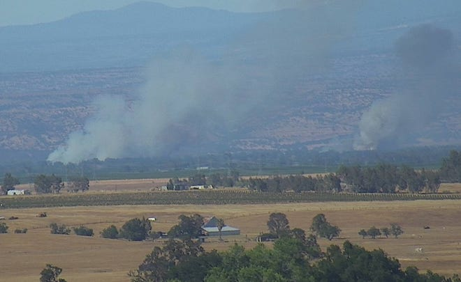 A Pacific Gas and Electric Co. camera captured  this image of the Dairy Fire on Tuesday afternoon.