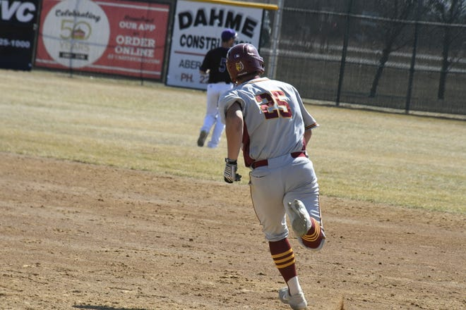 Austin Portner rounds first base for Northern State during the 2021 season. He's scheduled to join the Brandon Valley Rats on Sunday, June 27.