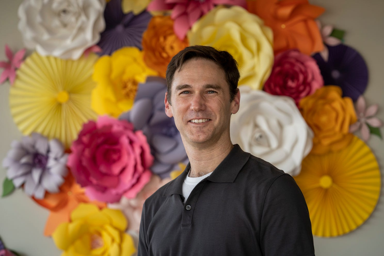 Dr. Josh Septimus, a doctor at Houston Methodist Primary Care Group, stands for a portrait in the Dandelion Cafe. Septimus says of the Hospital's COVID-19 vaccine mandate for employees,