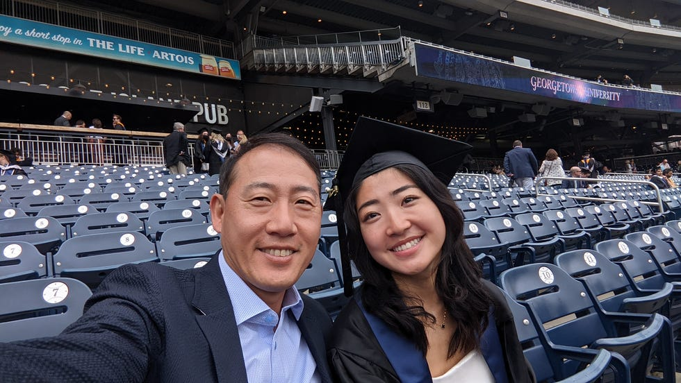 My dad loves taking selfies. Here we were at my graduation ceremony for Georgetown University.