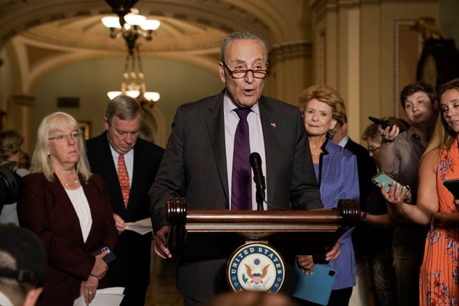Senate Majority Leader Chuck Schumer, D-N.Y., and the Democratic leadership speak to reporters about progress on an infrastructure bill and voting rights legislation, at the Capitol in Washington, Tuesday, June 15, 2021. Today was the first day democrats met for an in-person luncheon since the pandemic began in 2020.