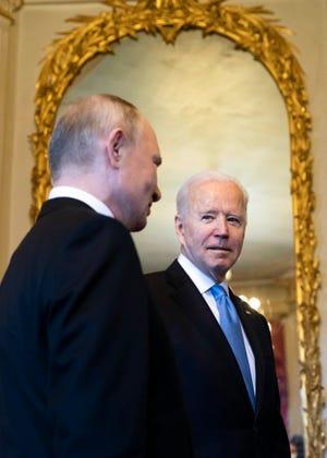 President Joe Biden and Russian President Vladimir Putin in Geneva, Switzerland, on June 16, 2021.