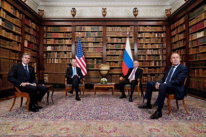 President Joe Biden and Secretary of State Antony Blinken, left, meet with Russian President Vladimir Putin and Foreign Minister Sergey Lavrov, at the 'Villa la Grange', Wednesday, June 16, 2021, in Geneva, Switzerland.