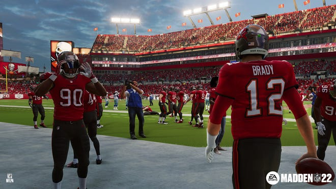 """""""Madden NFL 2022"""" won't be released until August, but EA Sports provided an early look at Tom Brady, Jason Pierre-Paul and the Tampa Bay Buccaneers at Raymond James Stadium."""