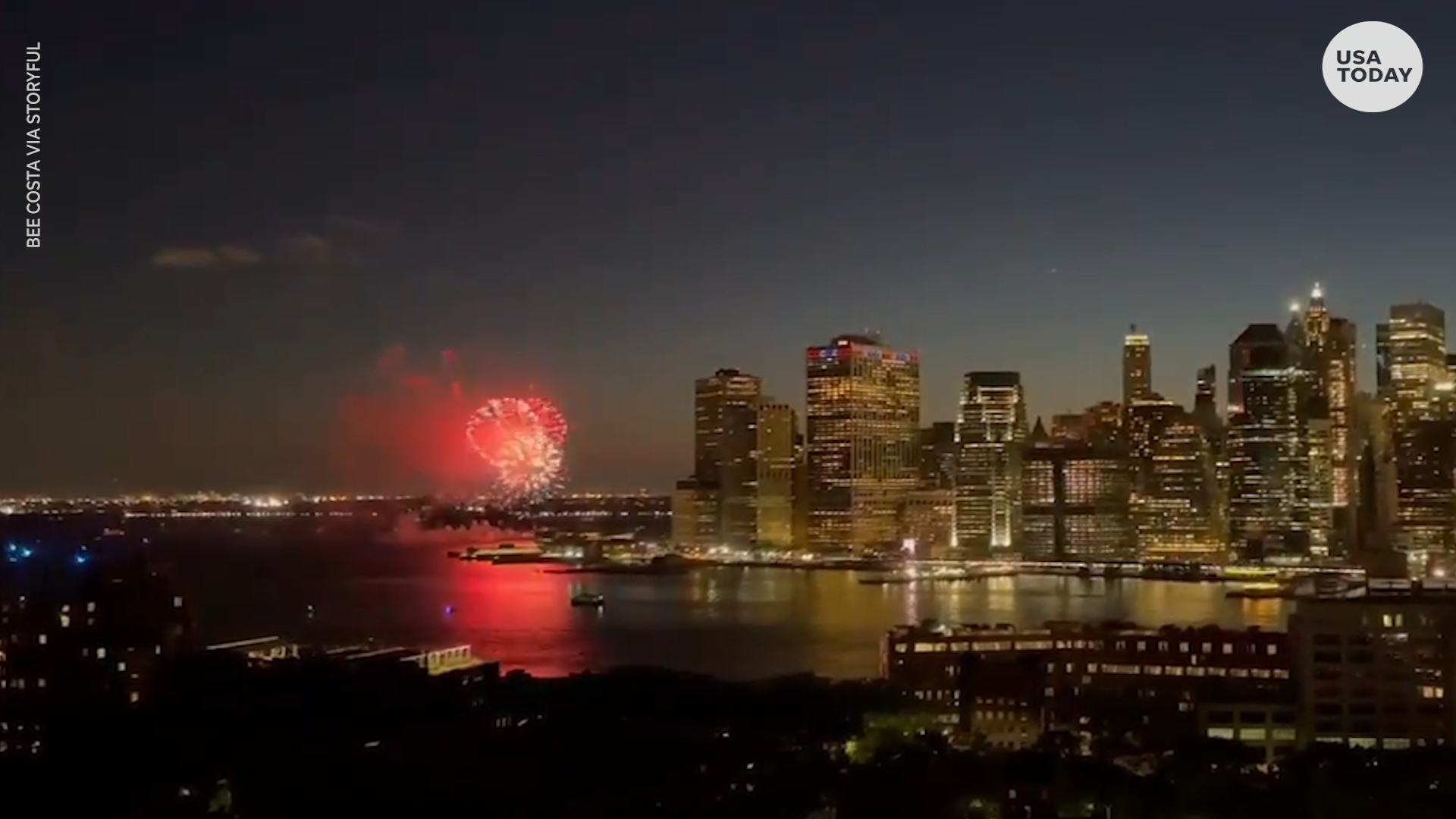 New York sky lit up by fireworks in a celebration of COVID-19 vaccination milestone