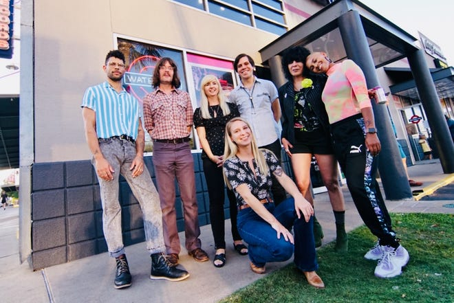 """""""Lift Me Up,"""" which premieres Friday on Austin PBS, features appearances by Project ATX6's 2019-2020 musicians. From left: Jonathan Horstmann, Mike St. Clair, Leslie Sisson, Kathryn Legendre, Evan Charles, KUTX DJ Laurie Gallardo, Alesia Lani."""
