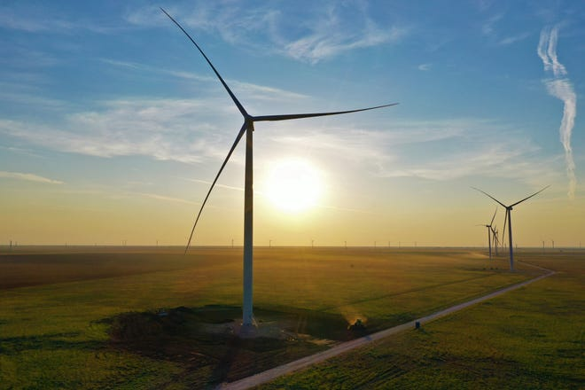 The Hale Wind Project near Plainview and the Sagamore facility near Portales, New Mexico, pictured, generate enough electricity to power 378,000 typical homes.