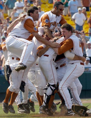 Texas players celebrate the team's 2005 College World Series win.