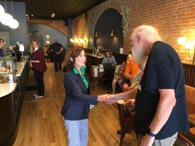 Lt. Gov. Kathy Hochul met with local Democrats like Village Trustee Rich Stewart June 4 at Amity Coffee Co. in Penn Yan. She later toured some of the DRI projects in the village.