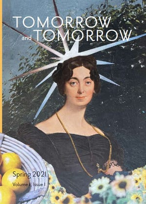 """The cover of Volume 1, Issue 1 of """"Tomorrow and Tomorrow,"""" a new literary journal from Bexley residents Kristopher and Gretchen Armstrong. The illustration by Gretchen depicts """"Stacy, Patron Saint of Quarantine."""""""