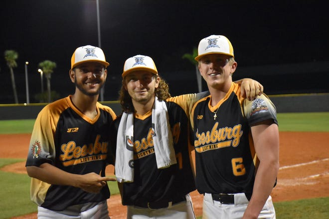 Leesburg Lightning pitcher (from left) Myles Caba, Dominick Madonna and Colton Bruns pose for pictures after combining to throw a no-hitter Wednesday in a 9-1 win against Seminole County in Sanford. It was the second no-hitter in Lightning history. [COURTESY / LEESBURG LIGHTNING]