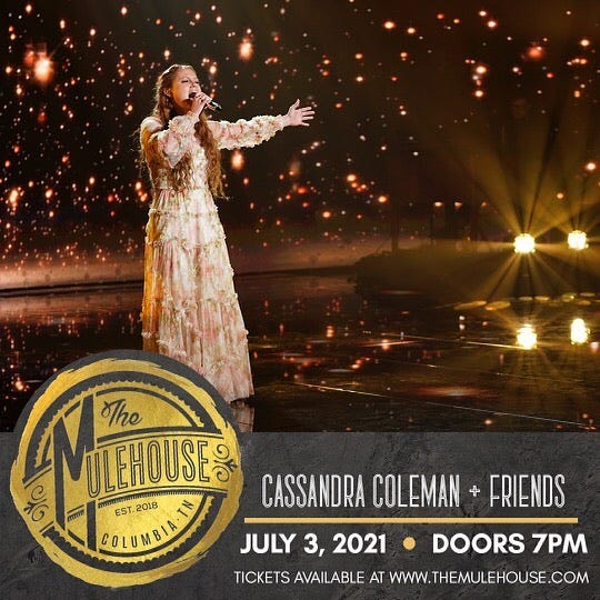 """Cassandra Coleman, who was a Top 10 finalist on the latest """"American Idol"""" season, will perform to a sold out Mulehouse crowd July 3, featuring several friends and other former """"Idol"""" contestants."""