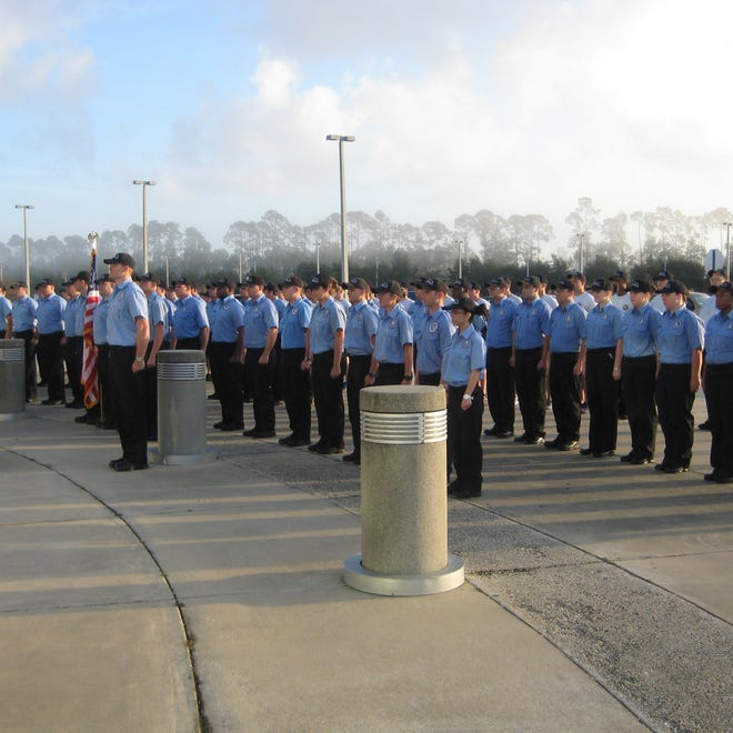 Cadets line up at Daytona State College's Law Enforcement Training Academy.