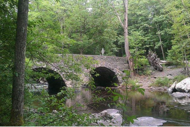 The double arch bridge, built in 1875, is popular with hikers at the Ten Mile River BSA Camp in the Towns of Tusten, Sullivan County, NY. It is a short walk from the parking area along Crawford Road where the National Park Service operates a Delaware River boat access. Photo by Charles Fulton. Creative Commons Attribution-Share Alike 2.0 Generic license./ Photo: Wikimedia Commons