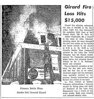 The Jan. 28, 1957, edition of the Erie Daily Times documents the fire that destroyed the Girard Hotel's mansard roof and third floor.