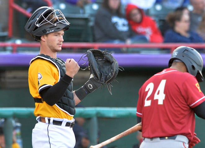 Erie SeaWolves catcher Dillon Dingler, left, waits as Altoona Curve batter Canaan Smith-Njigba enters the batter's box on June 16, 2021, at UPMC Park in Erie.