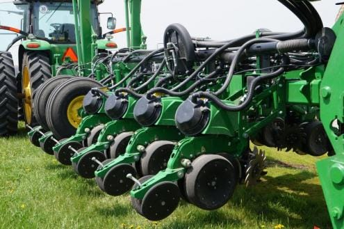 Converting your planter to high-speed requires an electric drive seed meter and a high-speed seed delivery system. A hydraulic downforce system should also be added to optimize the planter for speeds of eight miles per hour or greater.
