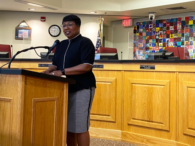 Duval County Public Schools Superintendent Diana Greene addresses local media at a June 14 news conference.