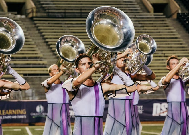 South Point graduate Chris Seay performs with Carolina Crown Drum and Bugle Corps at Wake Forest University's football stadium in 2019. Seay is spending the summer training with Carolina Crown at Gardner-Webb University in Boiling Springs.