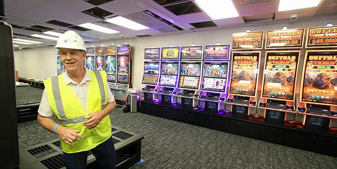 Chuck Kilroy gives a tour of the soon to open temporary facility on the site of Two Kings Casino on Kings Mountain Boulevard Thursday morning, June 17, 2021.